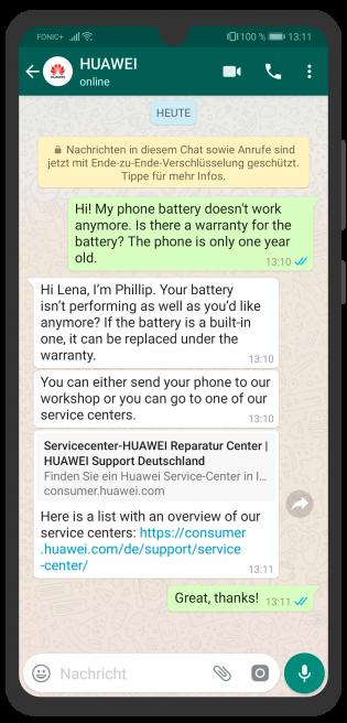 Die besten Chatbots 2019 Huawei WhatsApp Kundenservice