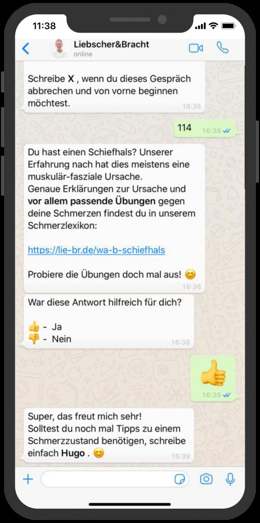 Die besten Chatbots 2019 Liebscher & Bracht Chatbot WhatsApp Beratung