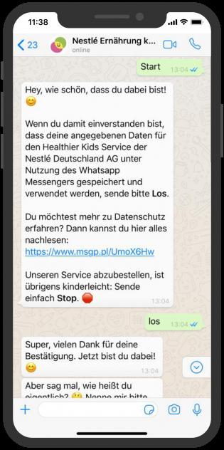 Die besten Chatbots 2019 Nestlé Chatbot WhatsApp