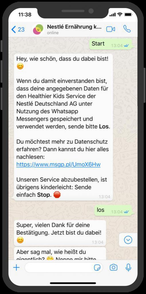 Die besten Chatbots 2019 Nestlé Chatbot WhatsApp Ernährungsberatung