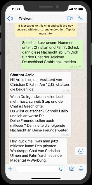 Die besten Chatbots 2019 Telekom WhatsApp Storytelling