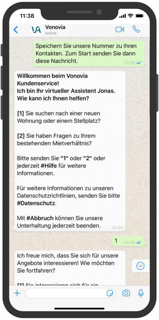 Die besten Chatbots 2019 Vonovia WhatsApp Kundenservice