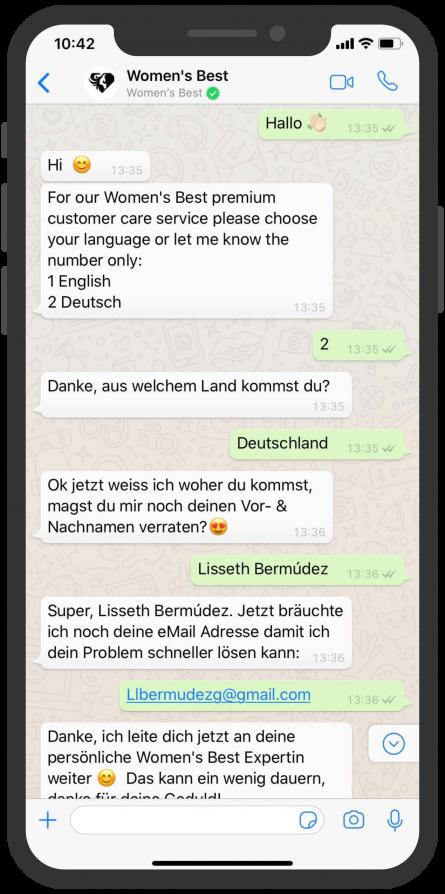 Die besten Chatbots 2019 Womens Best WhatsApp Kundenservice
