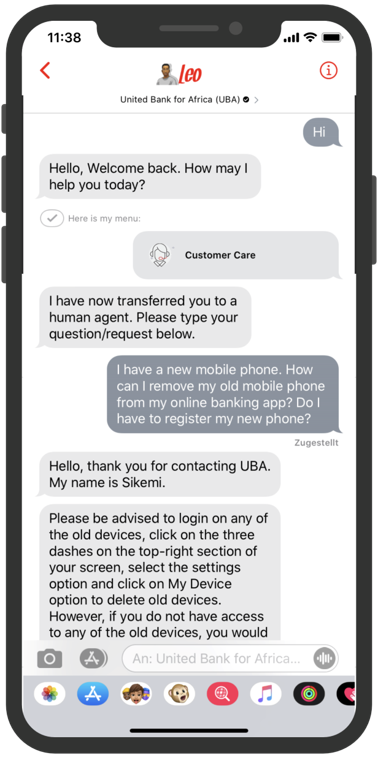 Apple-Business-Chat-United Bank for Africa Chatbot