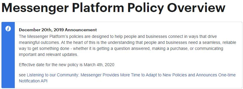 Messenger Platform Policy Overview
