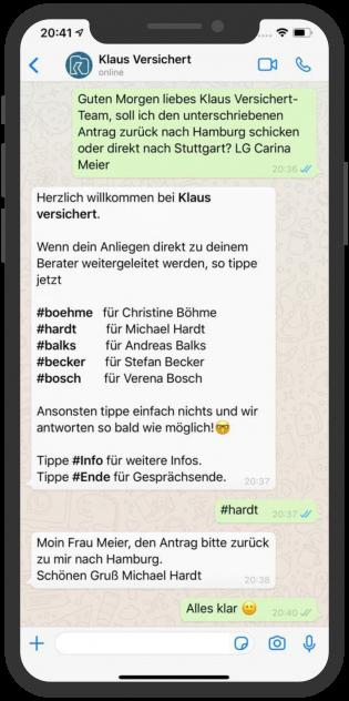 WhatsApp-Aussendienst-Klaus-Versichert-Chat