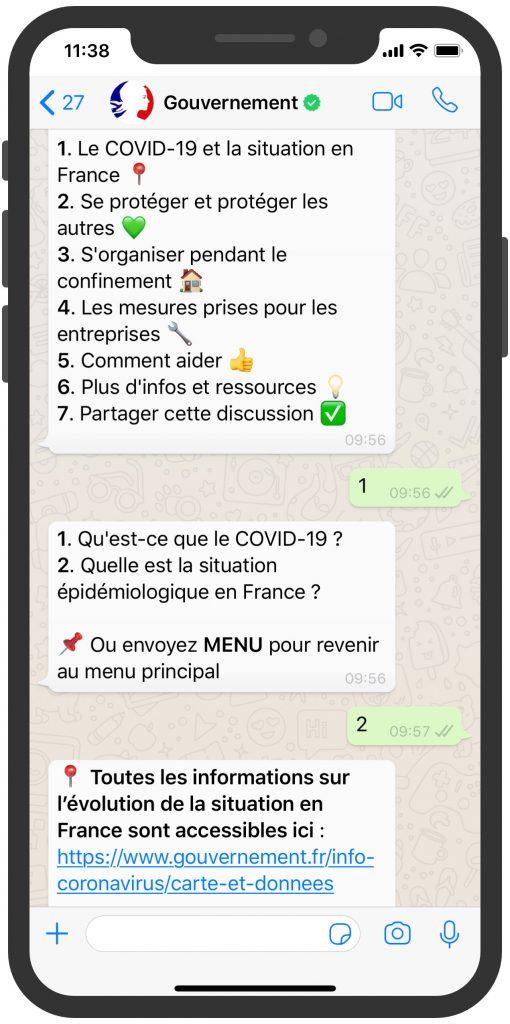 France gouverment whatsapp chatbot covid-7