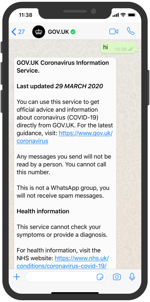 UK Regierung WhatsApp Corona Chatbot WhatsApp