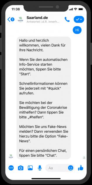 messenger-newsletter-Saarland Corona krisen bot Facebook messenger