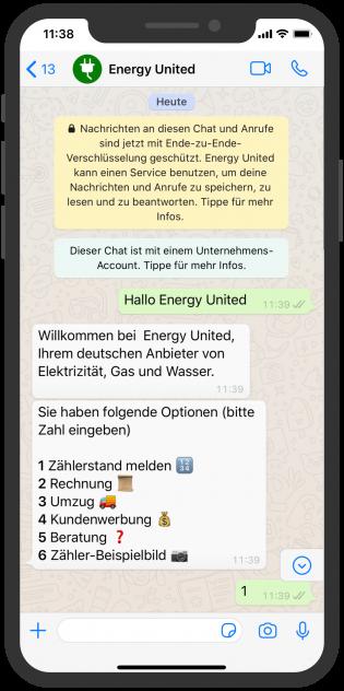 Zählerstand WhatsApp schicken