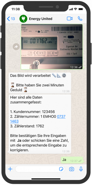 Zählerstand WhatsApp erkennen