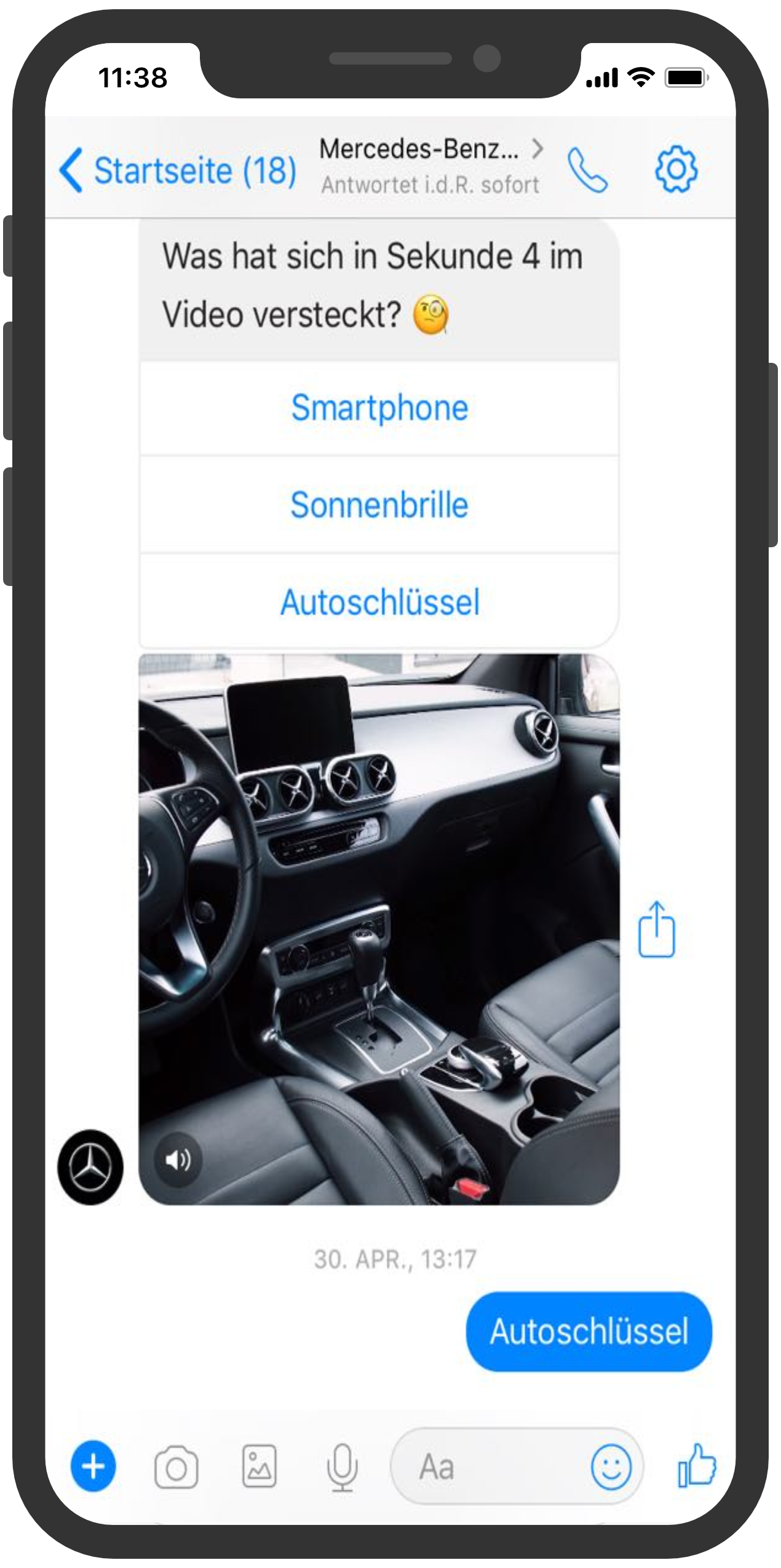 Mercedes benz schnitzeljagt chatbot