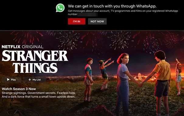 Netflix WhatsApp Messenger Marketing Beispiel