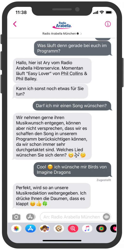 Radio Arabella Apple Business Chat Dialog