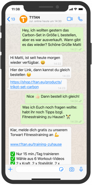 t1tan Kundenkommunikation WhatsApp