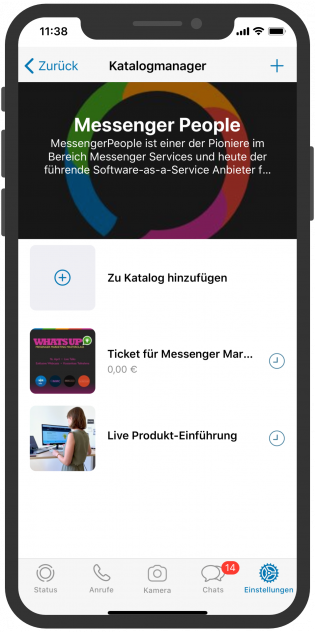 WhatsApp Business APP Produktkatalog Vorteil