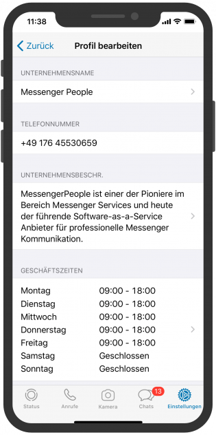 WhatsApp Business APP Kundeninfo