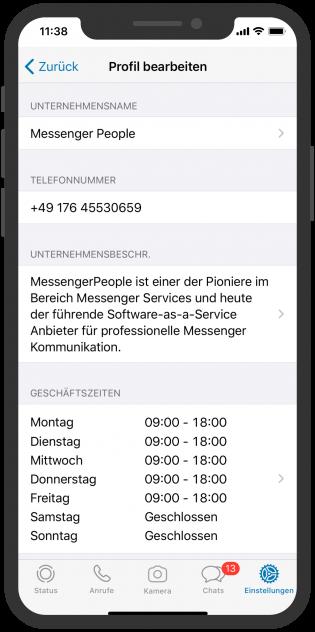 WhatsApp Business APP Kundeninfo
