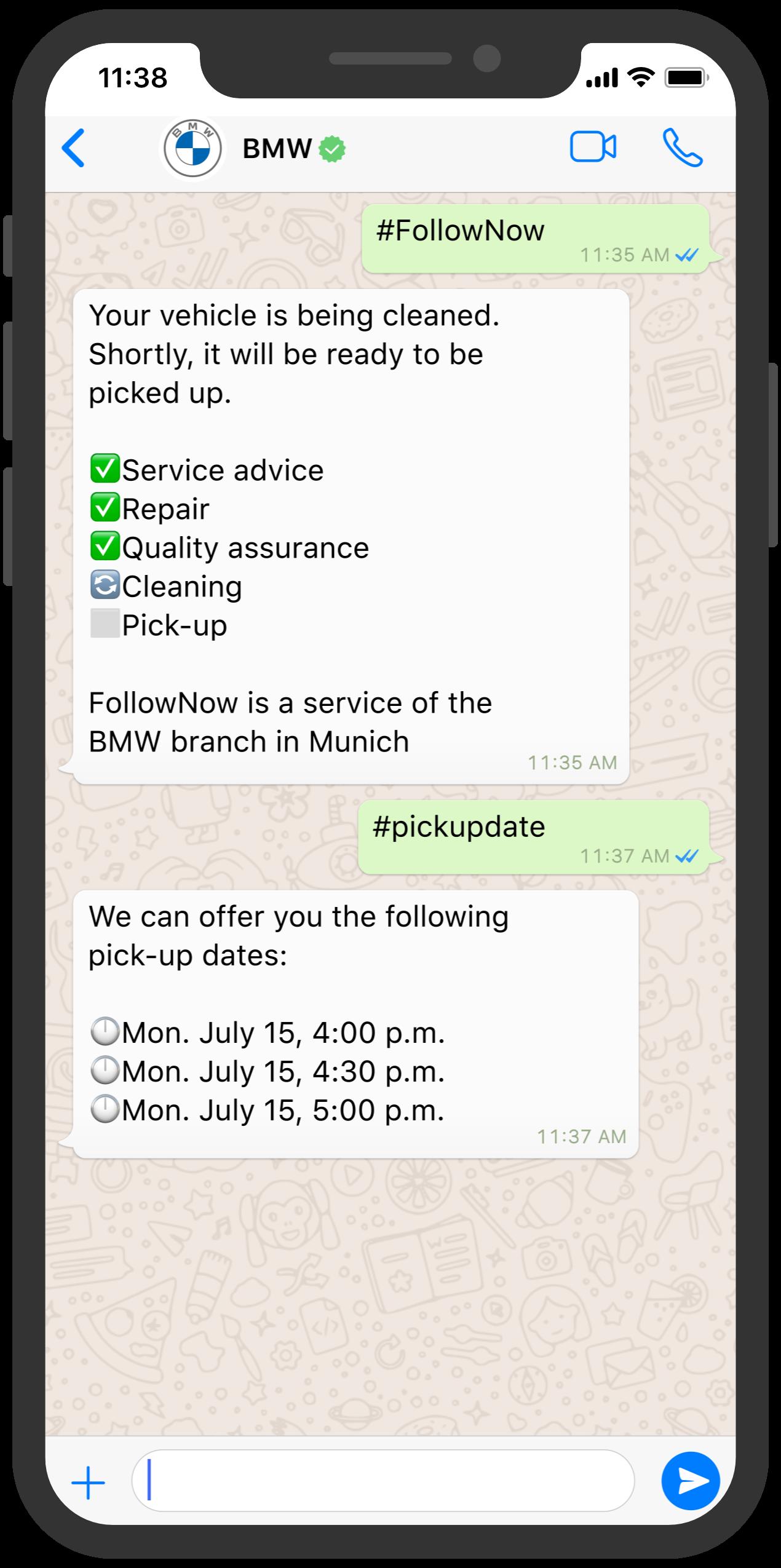 bmw follownow chatbot customer serice