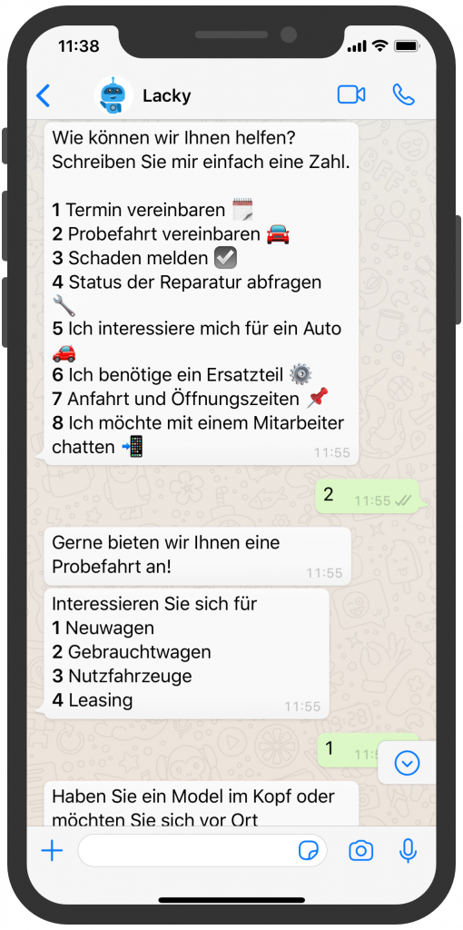 Chatbot für Autohaus