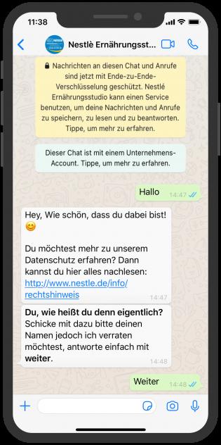 WhatsApp Screenshot device - Ernährungsstudio