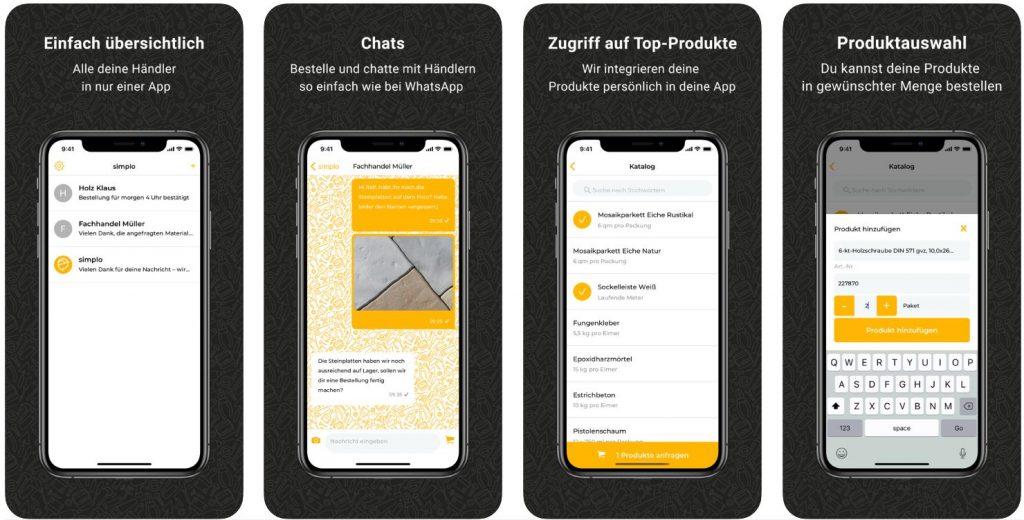 Simplo App transaktionaler Messenger Handwerker App
