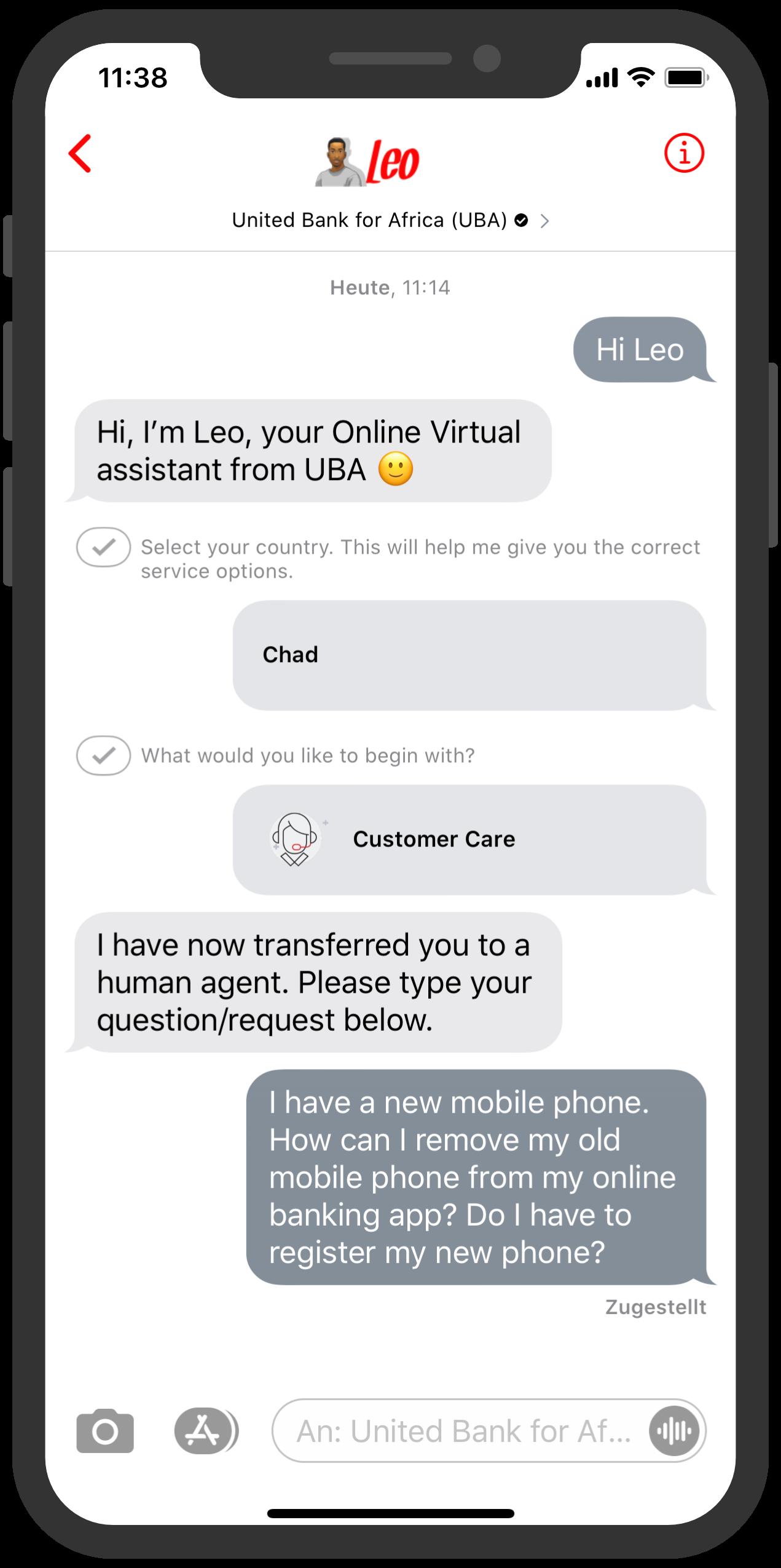 chatbot ubaa customer care