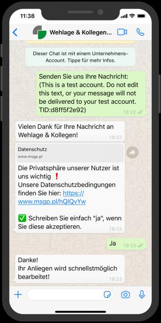 Wehlage & Kollegen WhatsApp Service