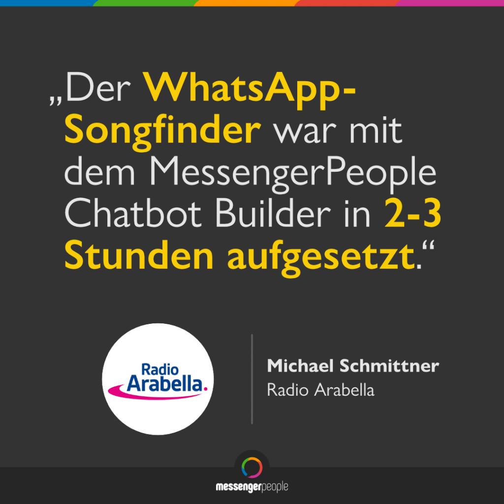 WhatsApp-Songfinder ganz einfach mit dem Chatbot Builder von MessengerPeople erstellt