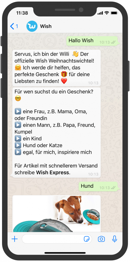 Shopping WhatsApp Chatbot Willi