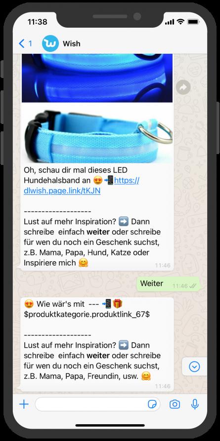 Shopping WhatsApp Chatbot Hunde