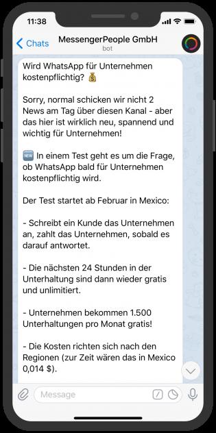 Unternehmen auf Telegram: MessengerPeople Kanal