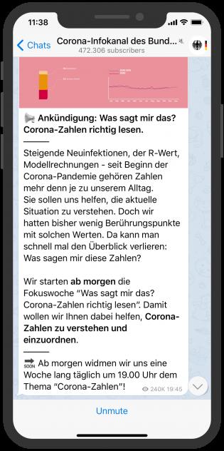 Telegram Gruppe Corona-Infokanal des Bundesministeriums für Gesundheit Telegram