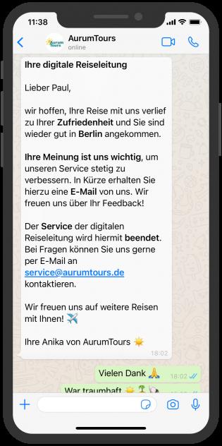 AurumTours erkundigt sich bei Kund:in per WhatsApp über Zufriedenheit nach dem Urlaub