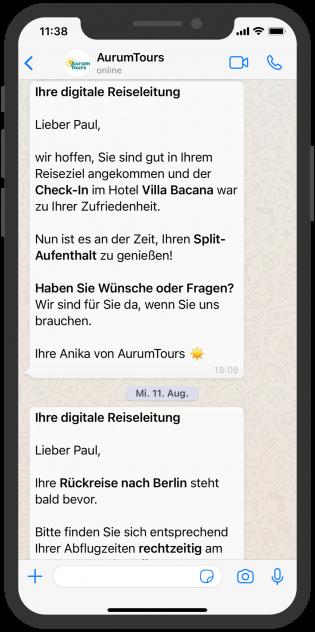 AurumTours erkundigt sich bei Kund:in per WhatsApp über Zufriedenheit während des Urlaubs