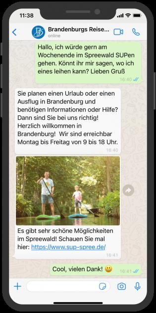 Reiseland Brandenburg berät zu Ausflugstipps über WhatsApp