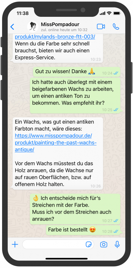 WhatsApp Screenshot device, MissPompadour