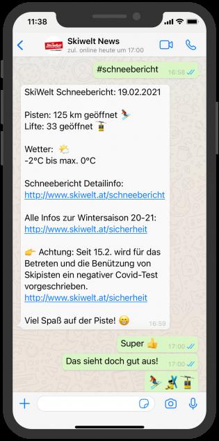 WhatsApp Skiwelt News mit aktuellen Informationen zur Schneelage