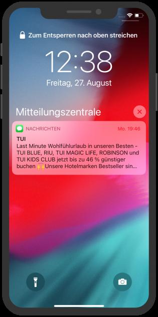 iMessage Push-Nachricht mit Last Minute Angebot von TUI