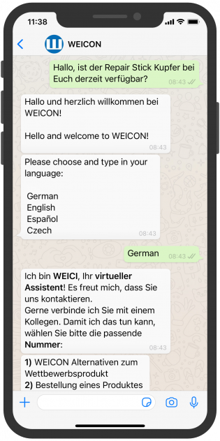 WhatsApp Screenshot device, WEICON-whatsapp-service-B2B-vertrieb