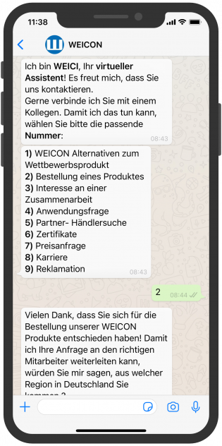 WhatsApp Screenshot device WEICON-whatsapp-service-B2B-vertrieb