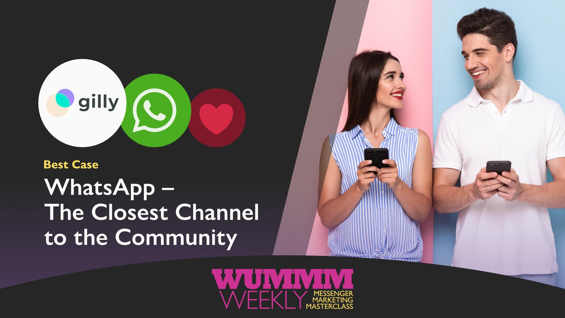 Wummm-weekly, Logo gilly, Logo WhatsApp, Best Case - WhatsApp für Community