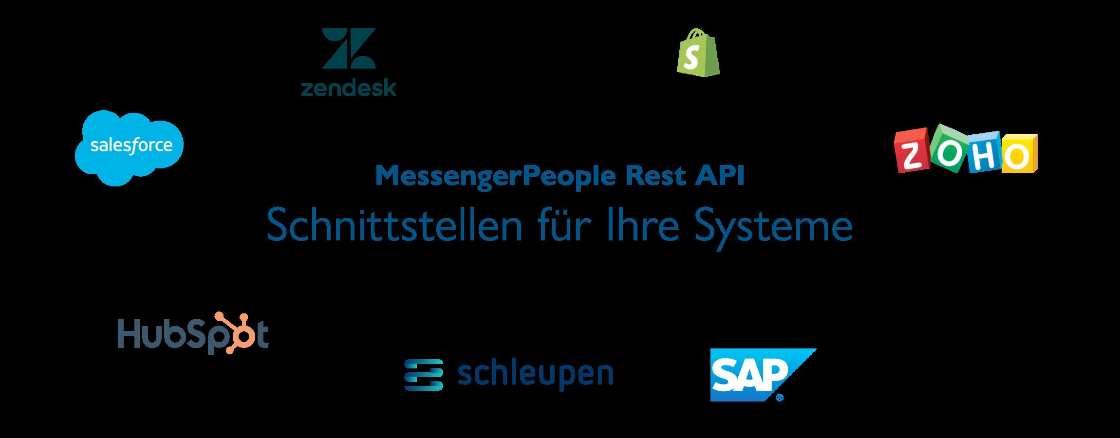 MessengerPeople Rest API, Schnittstelle für Ihre Systeme, Logo-Tafel