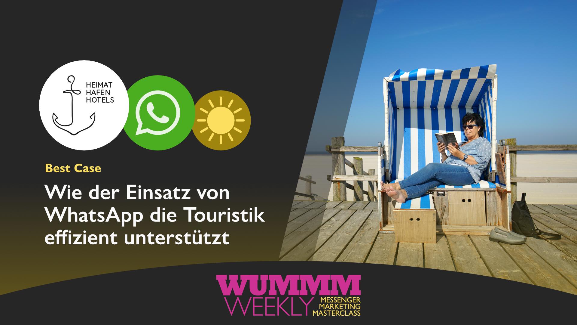 Wummm-weekly, Logo Heimat Hafen Hotels, Logo WhatsApp, WhatsApp in Touristik