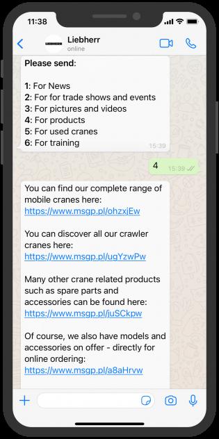 Liebherr WhatsApp Chatbot Customer Service