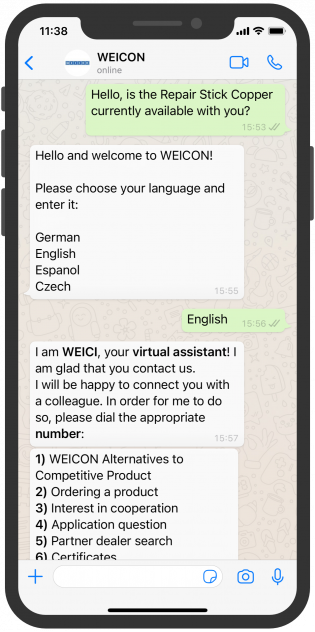 Virtual assistant WhatsApp WEICON Chatbot