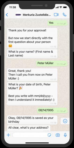 WhatsApp Chat Merkuria Zustelldienst HR