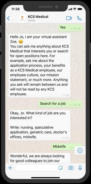 WhatsApp Chat KCS Medical HR