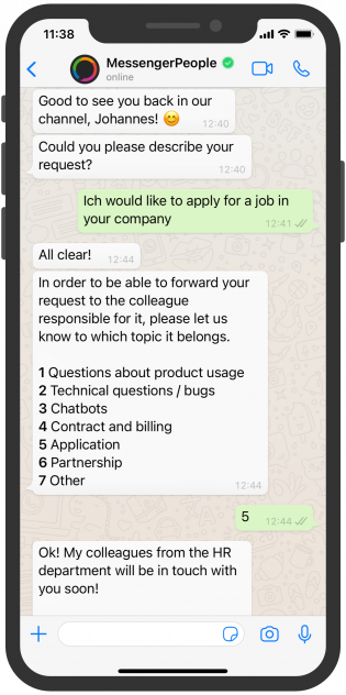 WhatsApp Chat MessengerPeople HR