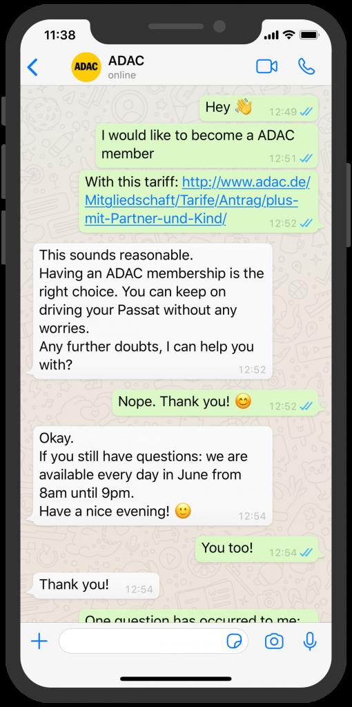 WhatsApp Business Beispiel ADAC